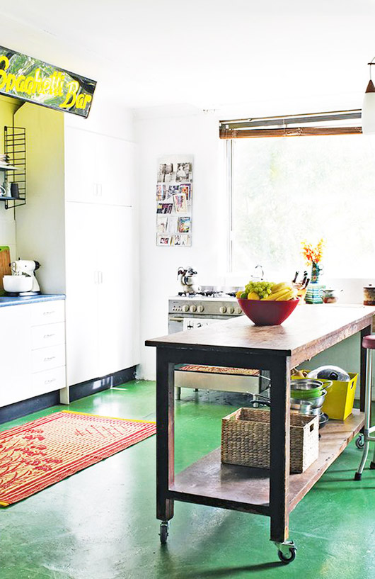 green kitchen floors. / sfgirlbybay