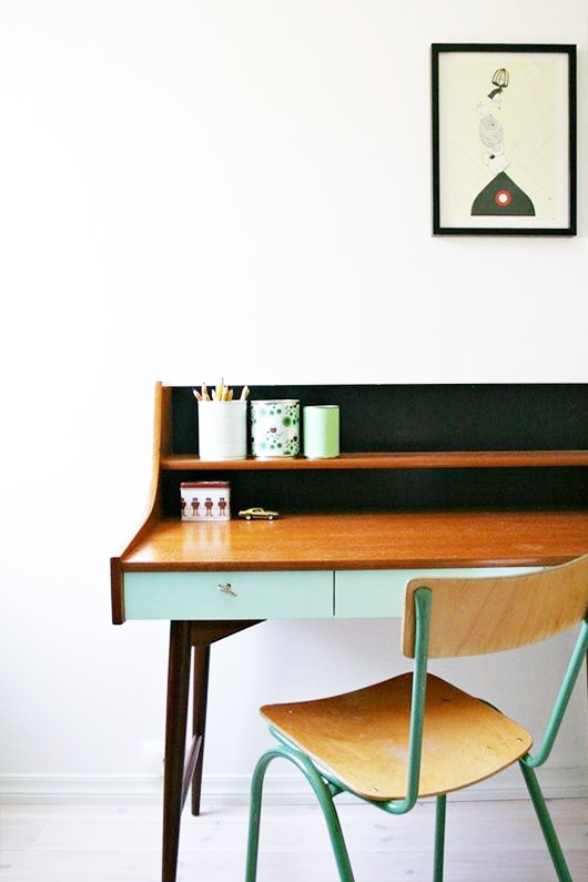 mint green painted desk drawers and green vintage chair. / sfgirlbybay