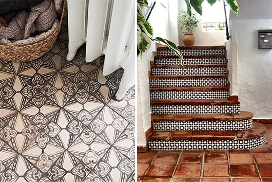 patterned black and white tiles. / sfgirlbybay