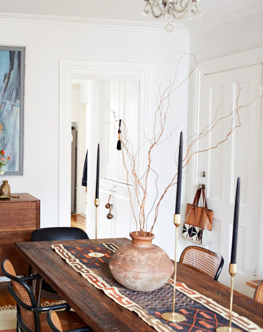 wood dining table and vintage chairs at home with Lizzie Fortunato. / sfgirlbybay