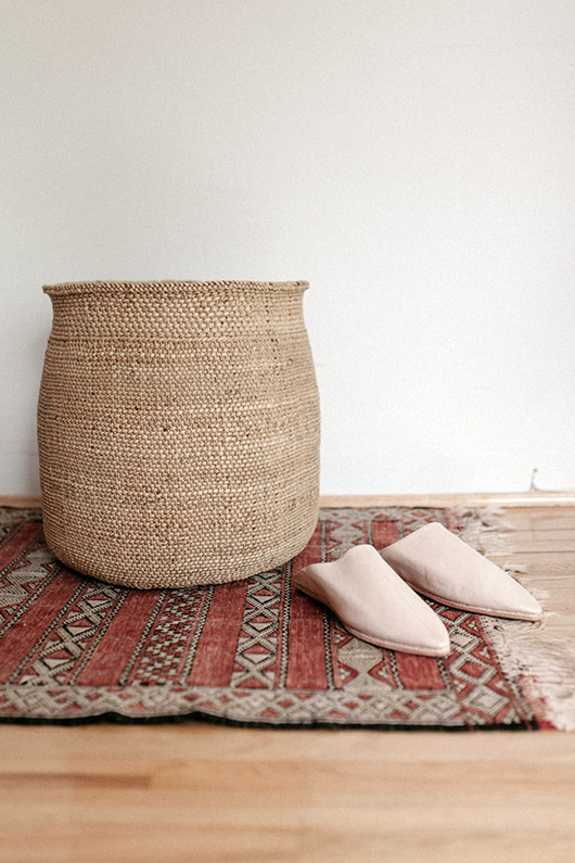 tall woven basket and nude slip-on shoes. / sfgirlbybay