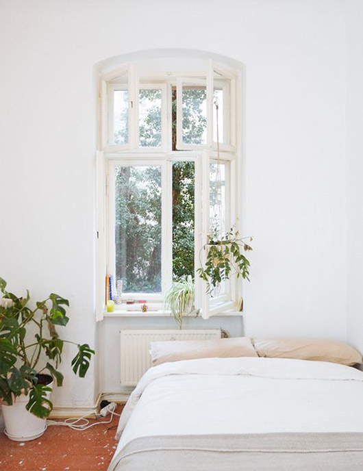 tranquil white bedroom with houseplants. / sfgirlbyaby