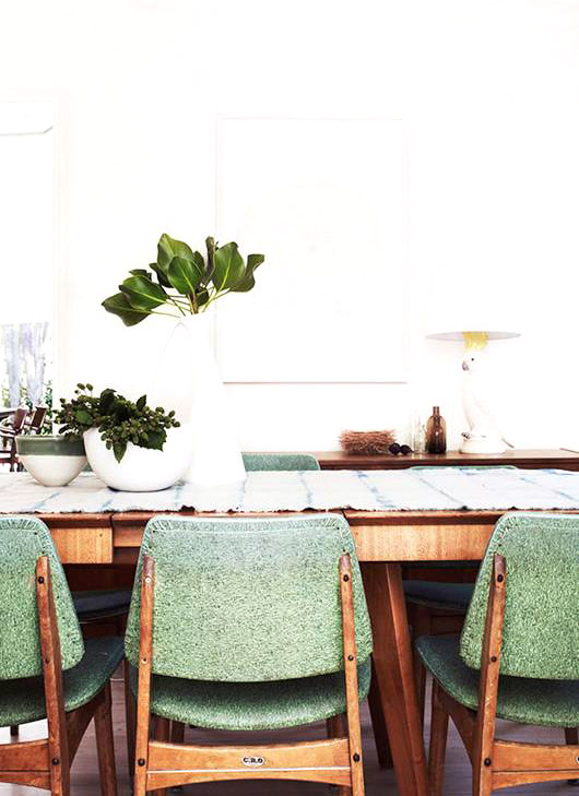 green vintage dining chairs. / sfgirlbybay
