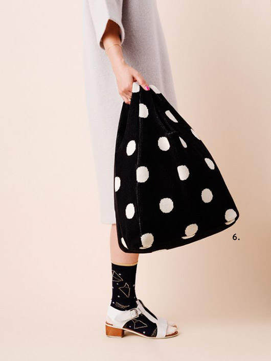 black and white spotted shopper from hansel from basel. / sfgirlbybay