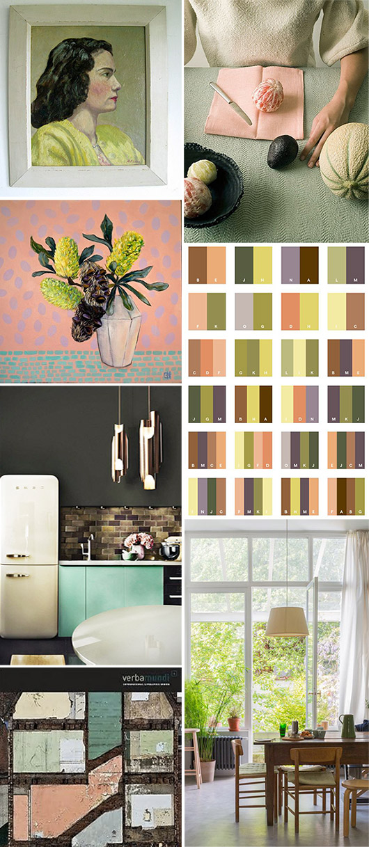 peachy pink and green color inspiration. / sfgirlbybay