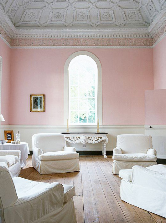 pink walls and tall ceilings with intricate moldings. / sfgirlbybay