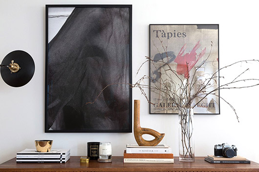 framed art prints hung in paige geffen's los angeles home. / sfgirlbybay