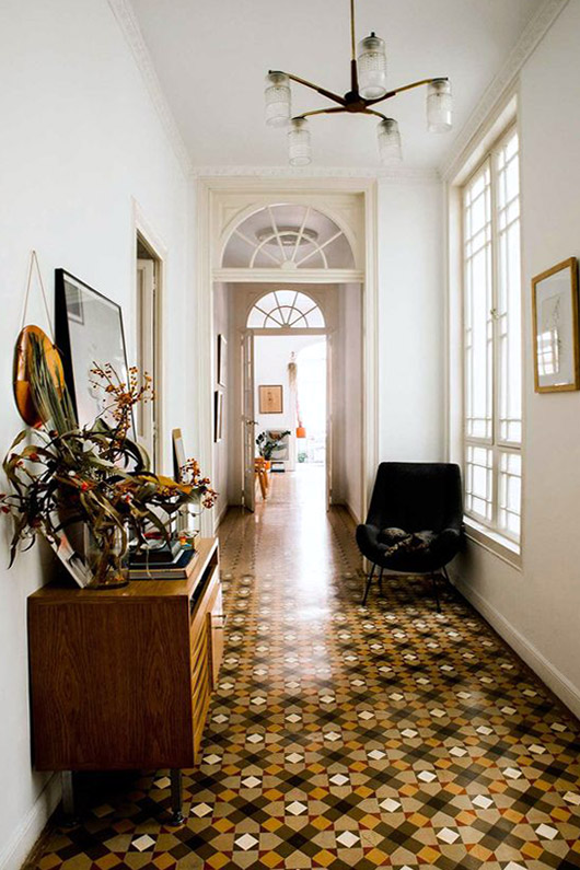 tiled hallway in barcelona home of designer paloma lanna. / sfgirlbybay