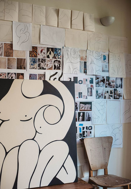 art prints and sketches in the home of artist caroline walls. / sfgirlbybay