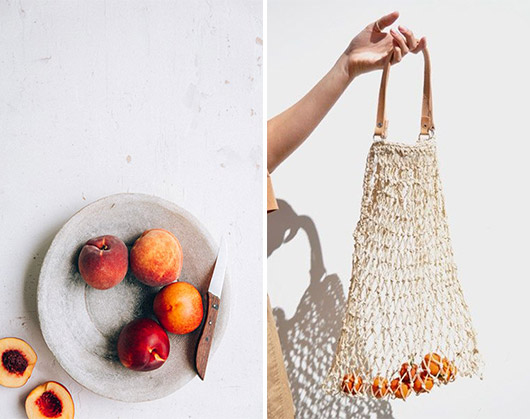 rope tote bag with tiny fruit and peaches on a plate. / sfgirlbybay