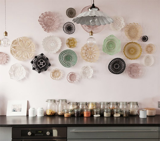 crocheted baskets as kitchen wall decoration. / sfgirlbybay