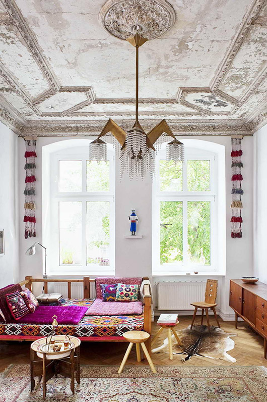 milk decoration feature of apartment in germany with eclectic decor. / sfgirlbybay