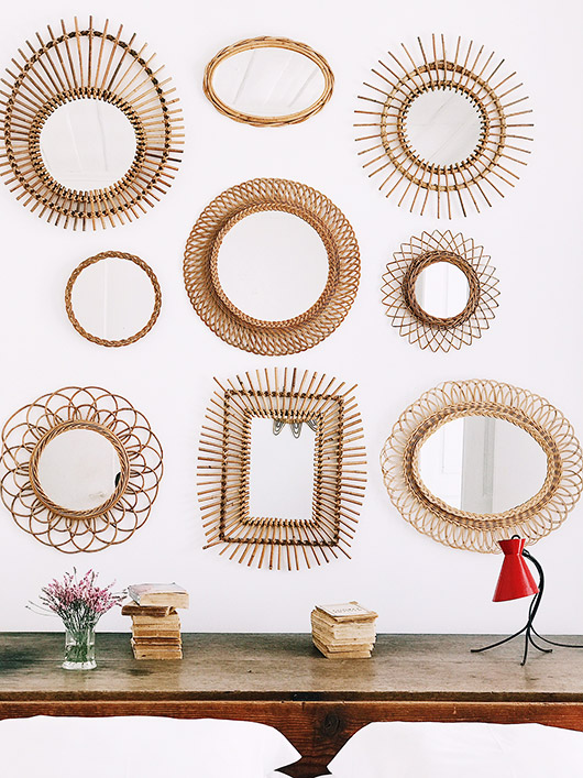 collection of wicker and rattan mirrors in lisbon. / sfgirlbybay