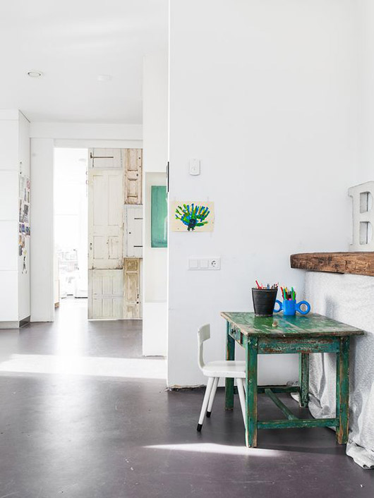 white walls and green desk. / sfgirlbybay