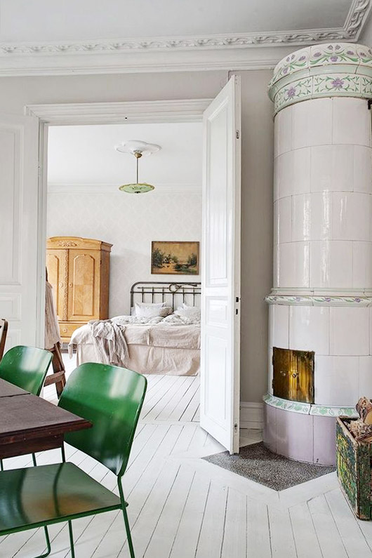 scandinavian inspired living space with green chairs. / sfgirlbybay