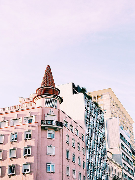 pink building in lisbon with red 'hat'. / sfgirlbybay