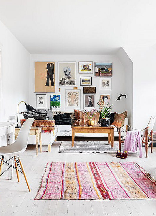 art gallery wall in home of designer trine skollers. / sfgirlbybay