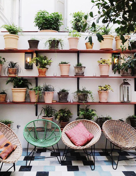Acapulco chairs and potted plants. / sfgirlbybay