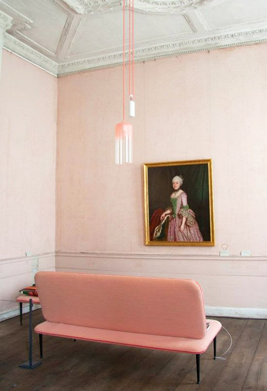 pink walls, pink sofa and pink pendant lamp with vintage painting. / sfgirlbybay