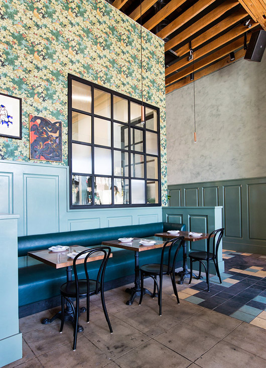 wallpaper and teal booth at cafe birdie. / sfgirlbybay
