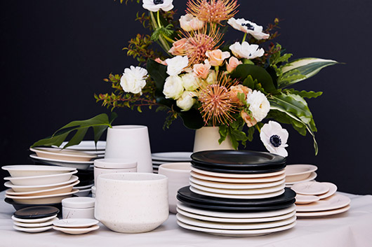 pink, white, and black ceramic dish sets by amy hamley. / sfgirlbybay