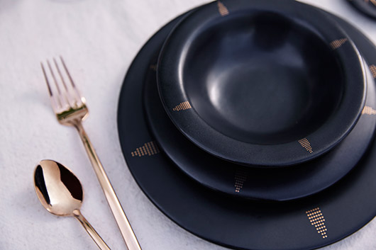 black and gold ceramic dishes. / sfgirlbybay