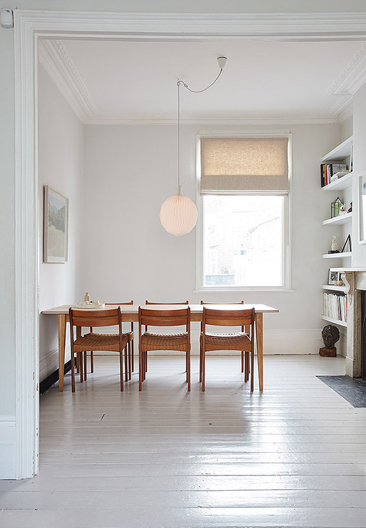 simple white washed dining area, / sfgirlbybay