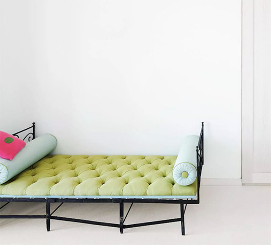 wrought-iron daybed in home designed by matteo thun & partners. / sfgirlbybay