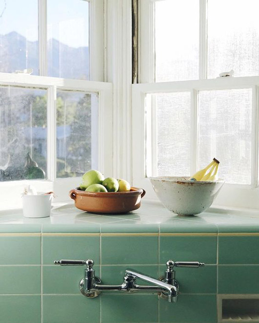 green tile backsplash and window shelf. / sfgirlbybay