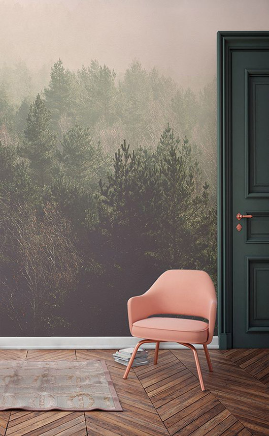 forest wall mural and pink chair. / sfgirlbybay