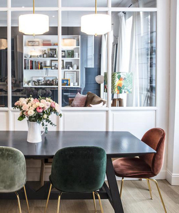 dining area with velvet chairs in home of Morgane Sézalory, Sézanefashion boutique founder. / sfgirlbybay