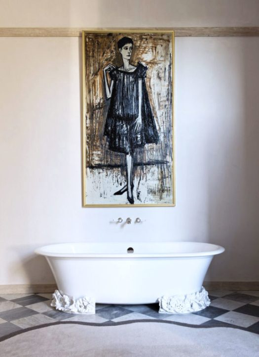 simple abstract portrait painting over free-standing tub. / sfgirlbybay