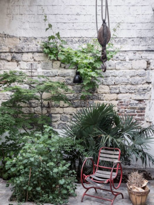 outdoor area of artist Ema Pradère's ceramic studio in paris. / sfgirlbybay