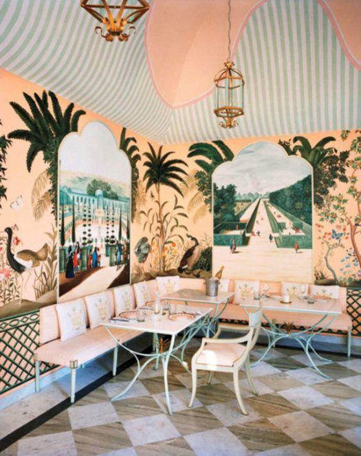 tropical dining area at caffé palladio in India. / sfgirlbybay