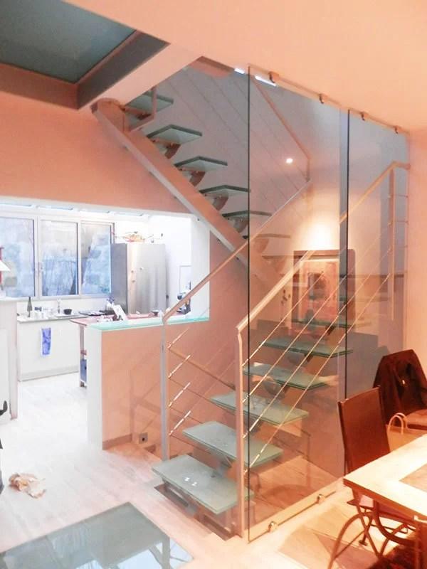 escalier palier verre et metal conception SFMP