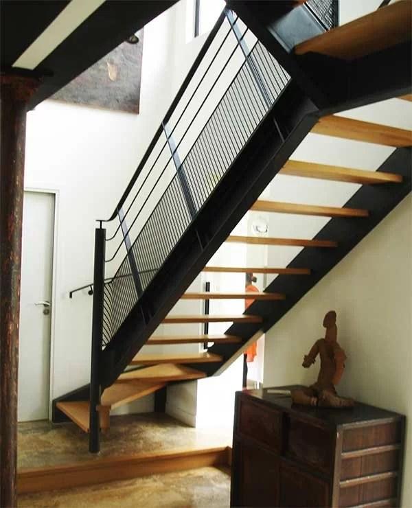 Escaliers industriel moderne bois et metal fabrication pose SFMP 78