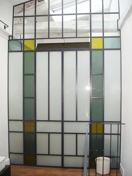 Cloison interieure vitrée et verre teinté