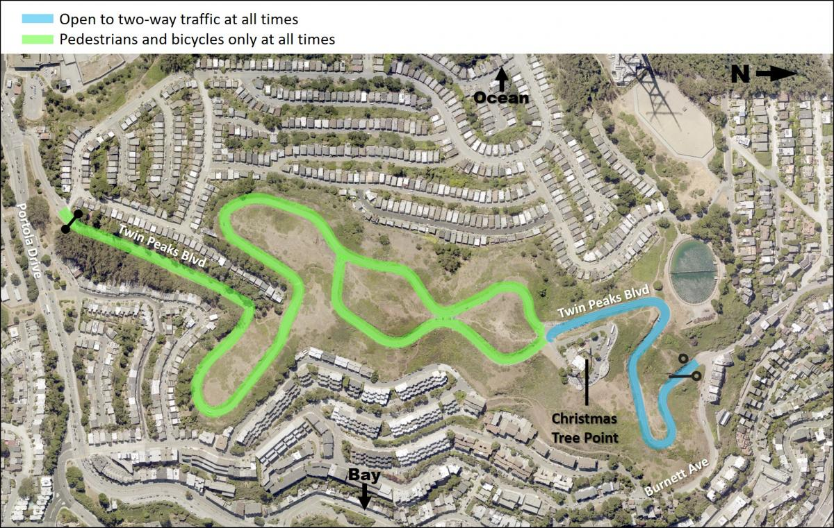 Map showing a blue line representing vehicle access from the Burnett gate up to the entrance of Christmas Tree Point parking lot 24 hours day. A green line indicates pedestrians and bikes only from the Portola Gate to the entrance to Christmas Tree Point. A green line indicates the east side of the figure eight is reserved for pedestrians and biking.