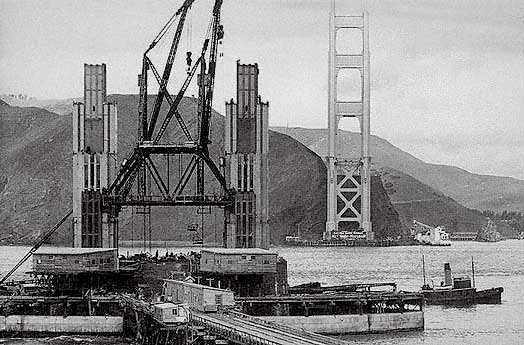 A view of the south tower of the Golden Gate Bridge under construction, from either 1935 or 1936, courtesy the San Francisco Museum.