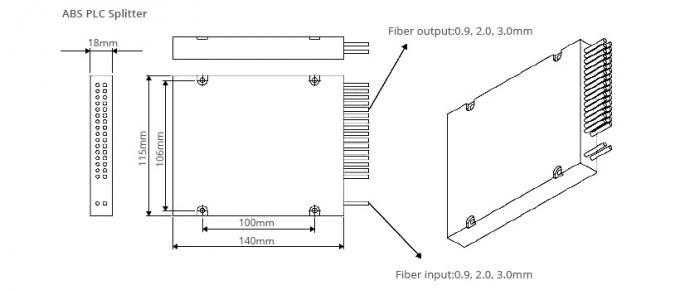 1x32 Way Fiber Optic Beam Splitter Module In FTTH And