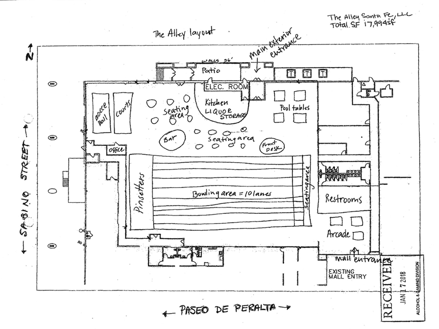 hight resolution of a layout of the alley included with the business application for a liquor license