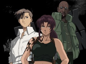 The main cast, Rock, Revi, and Dutch.  Black guys are as rare as hen's teeth in anime!