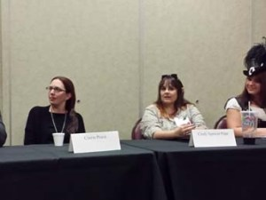 Patrick Tomlinson, Cherie Priest, Cindy Spencer Pape, and Seleste deLaney at a panel
