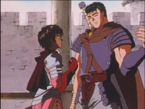 At least Casca gets to wear half-decent armor when dudes aren't trying to cut it off her.