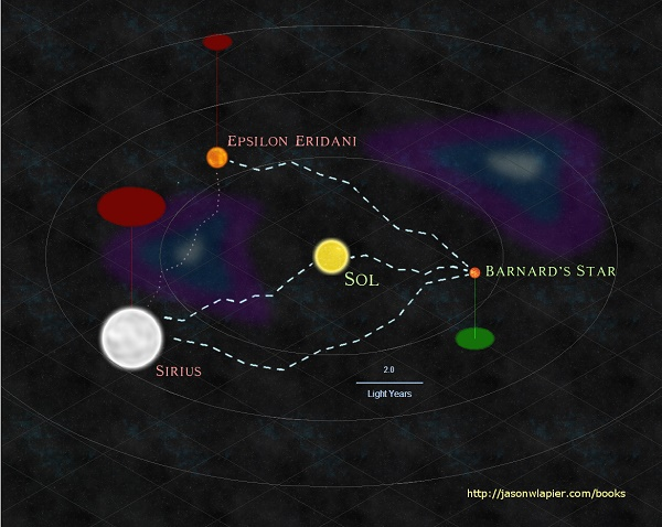 [Image: Sol and her Neighbors, with established xarp routes (as imagined in The Dome Trilogy]