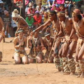 San dance groups from across southern Africa travel to the Dqãe Qare San Lodge i