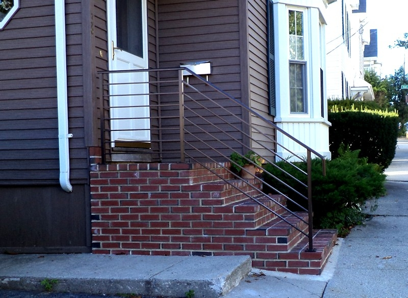 Contemporary Railing On Brick Steps Standfast Works Forge   Railings For Brick Steps   Steel Handrail   Front Door   Staircase   Railing Ideas   Handrails