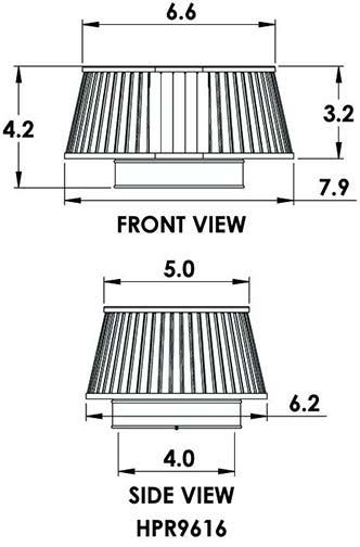Spectre HPR9616W: HPR Air Filter 4in. Cone Low Profile