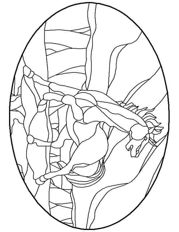Stained glass patterns for free./glass pattern 012 horse