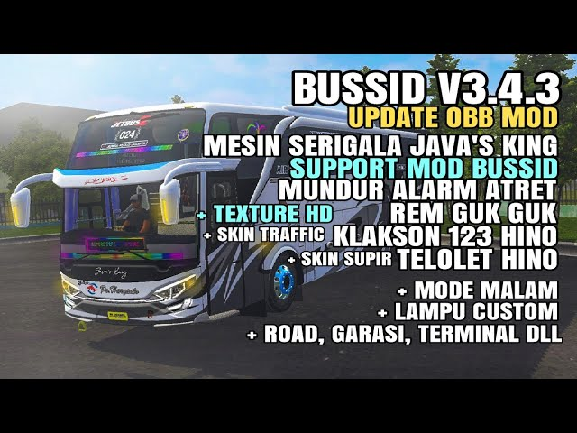 BUSSID V3.4.3 Obb: Serigala Java's King Support Mod + Texture Hd DLL Mod